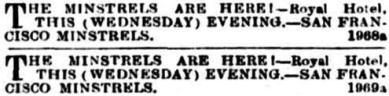 San Francisco Minstrels ad [EMP 25 Nov 1857, 1]