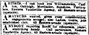 Eastern Vaudeville Agency [A 23 Mar 1918, 18]
