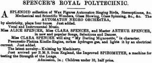 Spencer's Royal Polytechnic [ISN 21 Dec 1872, 23]