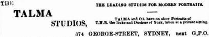 Talma ad [SMH 15 June 1901, 2]